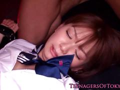 Tokyo teen double facialed after threeway
