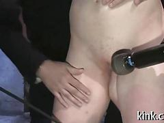 Bondage loving chick toyed and groped at a bdsm party