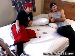 Smoking bad boys strip and jerk off together in bed