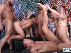 Horny hunks enjoying sucking cocks and hardcore fucking