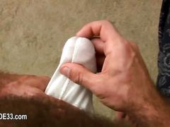 He gets to jerk off his cock so he erupts