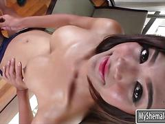 Huge boobies shemale name jerking off her hard shaft