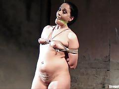 clair brooks, brunette, toy, bdsm, bondage, dildo, tied, slave, vibrator, gagged, fetish, bound, handcuffs, tied up