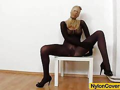 blonde, nylon, panties, fetish, mask, pantyhose, tights, nylons
