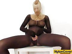 Nylon clad blonde masturbating