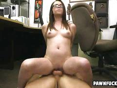 Glasses wearing college student swallows cum after getinng bent over desk and pounded