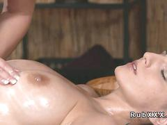 Busty babe enjoying lesbo massage