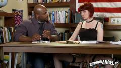 Tattooed schoolgirl takes a black cock