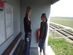 Amateur - two hot girls waiting for train