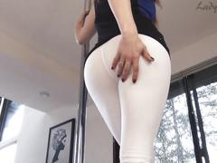 Lady fyre white yoga pants assworship tease and denial