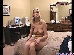 Blonde hottie sucks cock