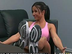 Big tit brunette milf pornstar  roughed up by her sport manager