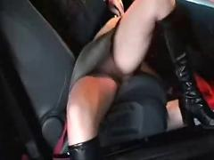 Horny wife fucked and splattered in parking complex