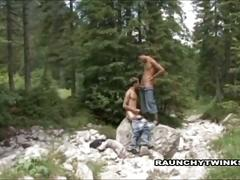 Raunchy twinks caught in outdoor fucking