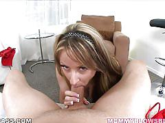 Carolyn strips and eats cock