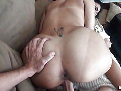 Latina fucking in couch and assfuck