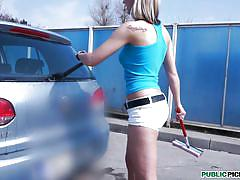 blonde,hot teen,tattooed,tracy,car wash,tracy,public pickups,mofos cash