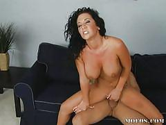 Frizzy hair brunette babe getting fucked hard