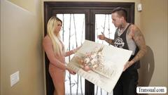 Blonde ts aubrey fucks her delivery guy in intense anal sex