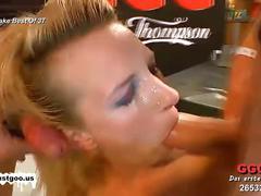 Lusty ladies receive bukkake pleasure