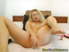 Hot blonde dildo fucking her pussy