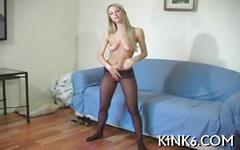 Glorious blonde teases her bean in pantyhose