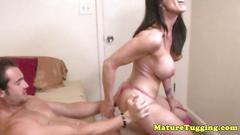 Cock tugging loving brunette jerking off a dude