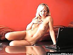 Hot blonde sharka strips during cam show