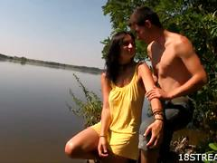 Brunette slut loves sex in the lake with her bf