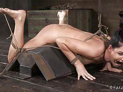 milf, bdsm, vibrator, brunette, tied up, basement, ropes, mouth opened, hot wax, hard tied, cyd black, india summer