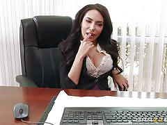 milf, big ass, latina, masturbation, office, busty, bald, undressing, black hair, big tits at work, brazzers network, johnny sins, lela star