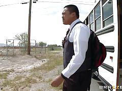 Horny schoolgirl seduces the school bus driver