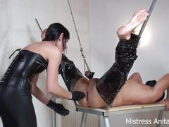Ball and ass stretching of the poor slave!