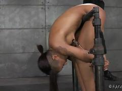 Ebony cutie in strict rope bondage