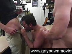Dude sucking gay cock in threesome for pawn cash