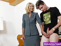 Mommy teacher playing with a dick