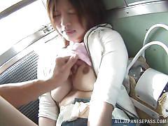 Japanese train passenger jerks and sucks cock