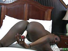 Ebony hottie gets freaky with the dildo