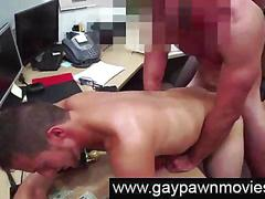 Straight guy ass fucked by gay for cash in pawn office