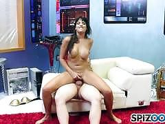 Mercedes carrera gags on cock and pussy pounde...