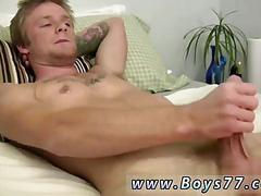 Amateur blond guy jacked off by a horny fatso