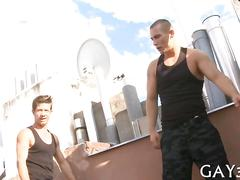 Two kinky dudes go hide in a parking lot to fuck