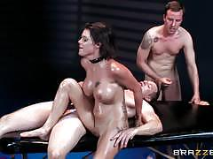 Oily babe peta jensen spit roasted by two dude...