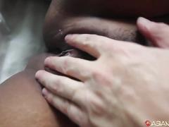 Chubby asian gets her pussy stretched by white cock