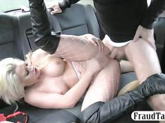 Sexy amateur blonde passenger in rough anal sex in the cab