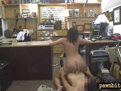 Customers wife pounded by nasty pawn guy in the backroom