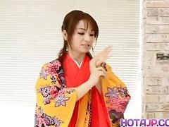 Miina is undressed of kimono and well fucked