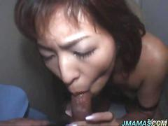 Japanese mature gives a stunning deep throat blowjob for a load of cum