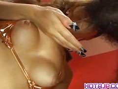 Misa tsuchiya sucks tools and rides dildo