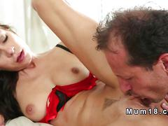 Dressed brunette milf gets fucked